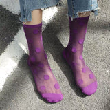 Summer Ultra Thin Candy Color Dots Short Socks - chicstocking