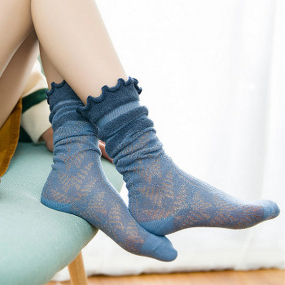 Solid Color Hemming Cotton Loose Socks - chicstocking