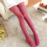 Lolita Love Heart Wave Lace Flower Breathable Hollow Mesh Women Thigh High Stockings Pantyhose - chicstocking