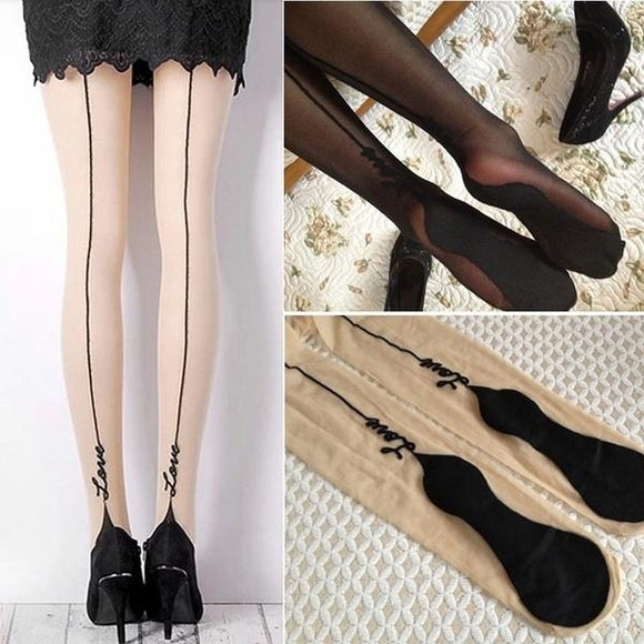 Sexy Backside Line Jacquard English Love Letter Tattoo Stockings Pantyhose Tights - chicstocking