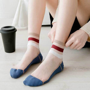 Stripe Glass Silk Socks - chicstocking