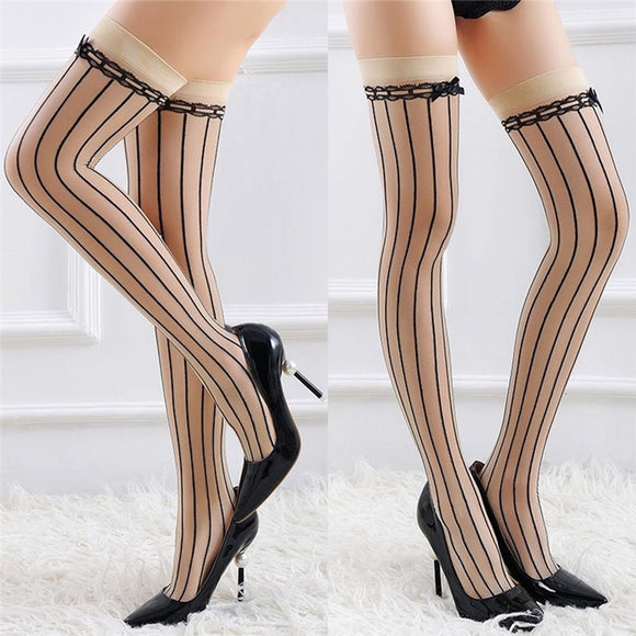 Sexy Bowknot Vertical Stripe Thigh High Stockings - chicstocking