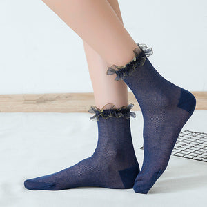 Lace Flower Ruffle Summer Mesh Breathable Elastic Casual Girls Short Socks - chicstocking