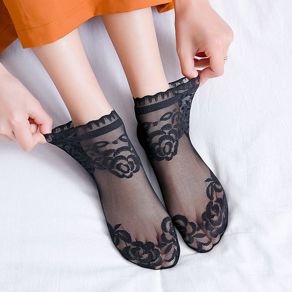 Summer Lace Flower Mesh No Show Ankle Invisible Socks - chicstocking