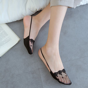Lace Flower Mesh Invisible Half Transparent Silk Socks - chicstocking