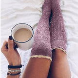 Lace Thigh High Thick Lovely Girl Knitting Long Stockings - chicstocking