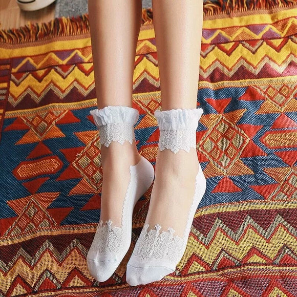 Lace Flower Summer Glass Breathable Elastic Casual Girls Short Socks