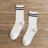 Loose High School Girls Solid Colors Needles Knitting Striped Cotton Socks