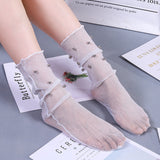 Sweet Glitter Pearl Solid Color Glass Silk Loose Socks - chicstocking