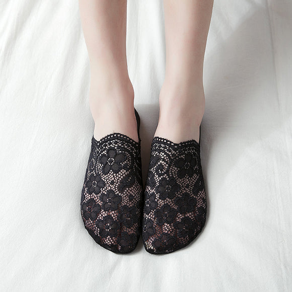 Lace Flower Women Nylon Ankle Invisible Socks