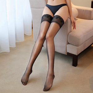 Exquisite Diamond Lace Top Oil Shine Thigh High Stockings - chicstocking