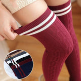 Cotton Sexy Striped Thigh High Over The Knee Long Stockings For Girls Ladies Women - chicstocking