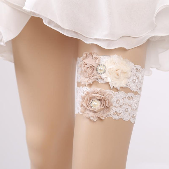 Wedding Garters for Bride Lady Lace Flower Bridal Leg Garters Thigh Rings - chicstocking