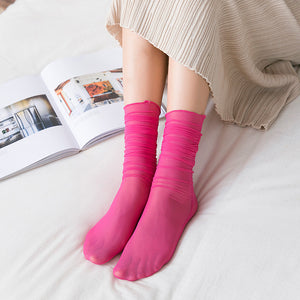 Candy Color Mesh Glass Silk Slouch Socks - chicstocking