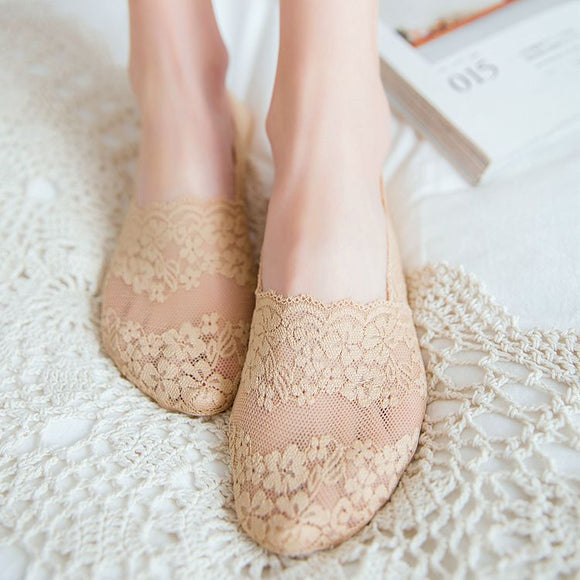 Lace Flower Women Mesh Cotton No Show Ankle Invisible Socks - chicstocking