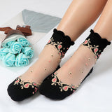 Women Ultrathin Transparent Lace Crystal Rose Flower Short Socks - chicstocking
