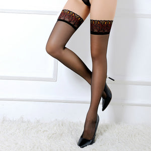 Ultra Elastic Peacock Pattern Lace Sexy Lingerie Fetish Stockings - chicstocking