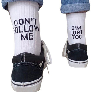 DON'T FOLLOW ME I'M LOST TOO Letter Solid Color Cotton Socks - chicstocking