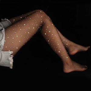 Glitter Diamond Crystal Hollow Fishnet Stockings Pantyhose - chicstocking