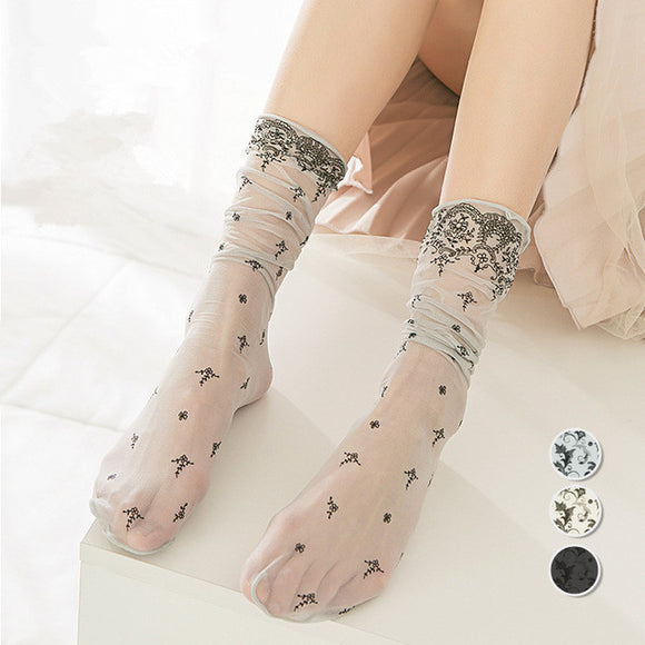 Sweet Summer Flower Print Breathable Loose Women Socks - chicstocking