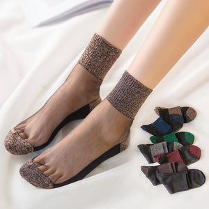 Women Ultrathin Glitter Crystal Fiber Elastic Cotton Silk Short Socks - chicstocking