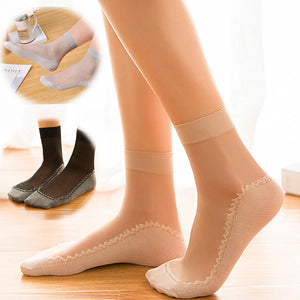 Patchwork Cotton Bottom Glass Silk Women Socks - chicstocking
