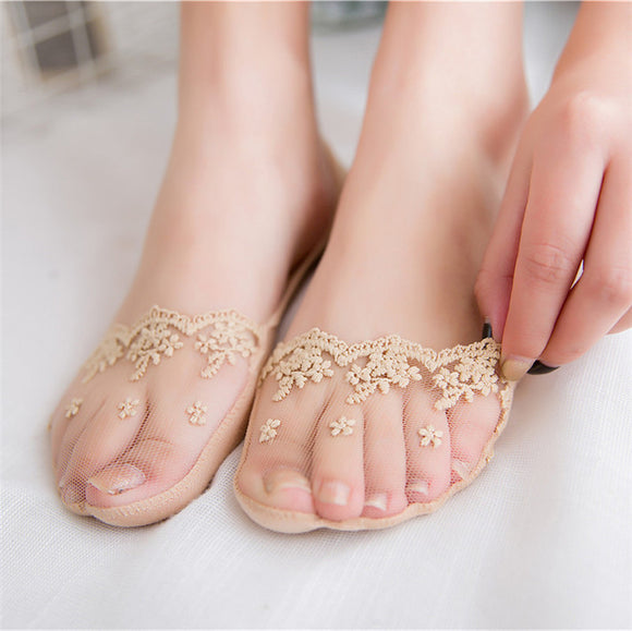 Lace Flower Fishnet Transparent Silicone Non-slip Women No Show Ankle Invisible Socks - chicstocking