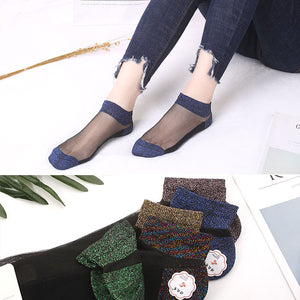 Glitter Glass Silk Women Ankle Invisible Socks - chicstocking