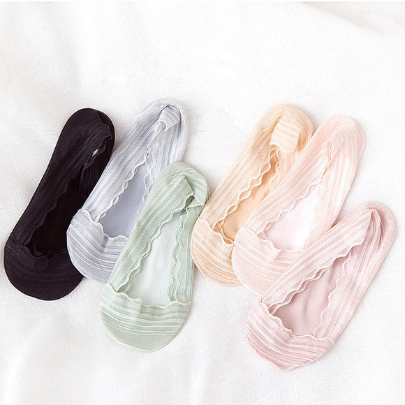 Candy Color Wave Border Women Ankle Invisible Socks - chicstocking