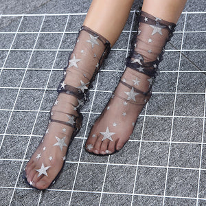 Glitter Star Gauze Transparent Women Loose Slouch Socks - chicstocking
