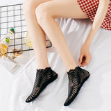 Retro Lace Leaf Pattern Hollow Mesh Women No Show Ankle Invisible Socks - chicstocking
