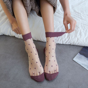 Sweet Contrast Color Polka Dot Transparent Glass Silk Socks - chicstocking