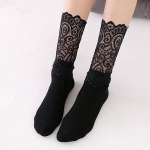 Retro Lace Flower Mesh Elastic Women Socks - chicstocking