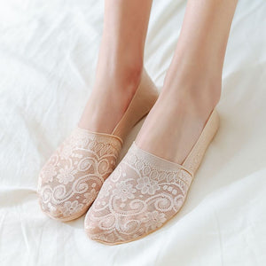 Solid Color Lace Flower No Show Ankle Invisible Socks - chicstocking