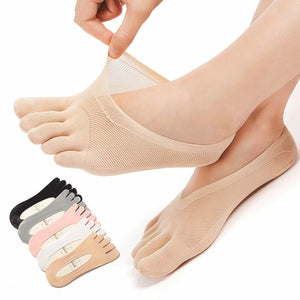 Solid Color Five Toe Mesh Breathable No Show Ankle Invisible Socks
