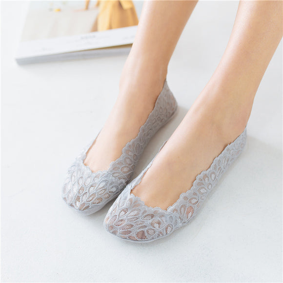 Lace Peacock Feather Pattern Women No Show Ankle Invisible Socks - chicstocking