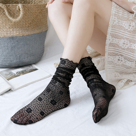 Lace Flower No Show Ankle Invisible Socks - chicstocking