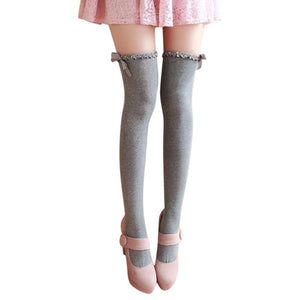 Fashion Wavy Lace Ribbon Bow Over Knee High Stockings - chicstocking