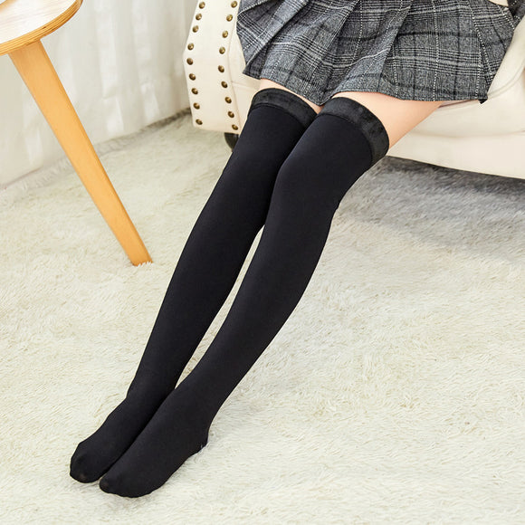 Winter Solid Color Thigh High Simier Stockings