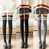 Solid Color Warm Cotton Three Stripe Women Thigh High Stockings - chicstocking