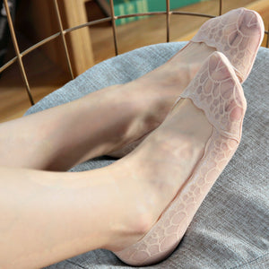 Summer Lace Ice Silk Ultra-thin Shallow Mouth Non-slip Invisible Ankle Socks - chicstocking