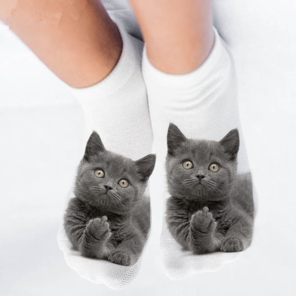 Funny Animal Cat 3D Print Short Socks - chicstocking