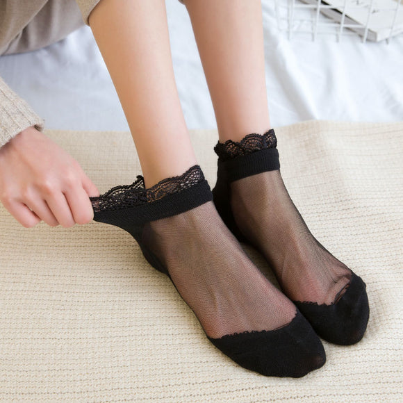 Summer Lace Ruffle Patchwork Transparent Socks - chicstocking