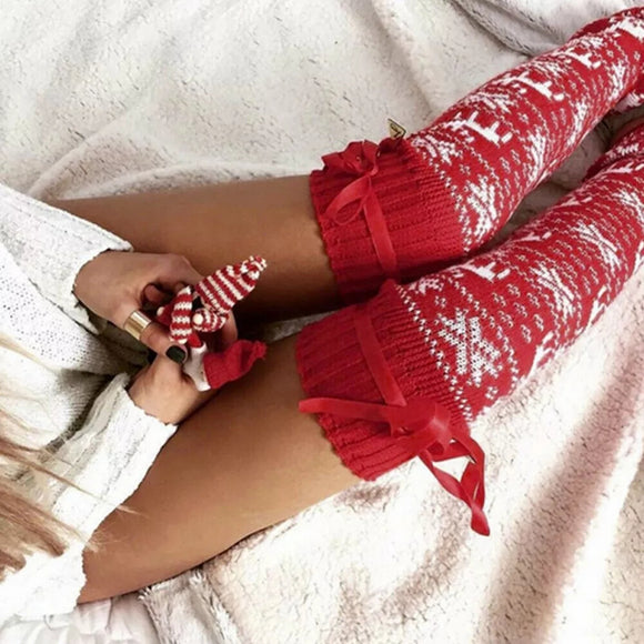 Christmas Knitted Over The Knee Stockings