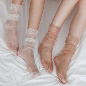 Summer Ultra Thin Mesh Transparent Ruffle Slouch Socks - chicstocking