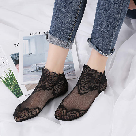 Hollow Mesh Lace Flower Transparent Breathable Socks - chicstocking