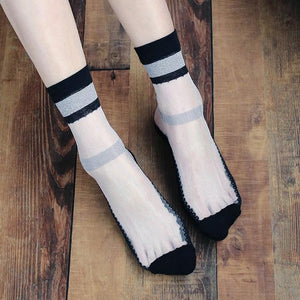 Ultra-thin Lace Transparent Silk Socks - chicstocking