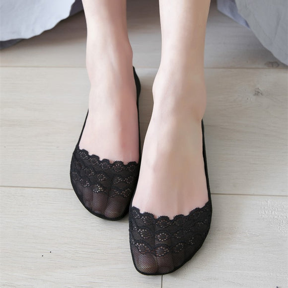 Lace Flower Women Lace Cotton Ankle Invisible Socks