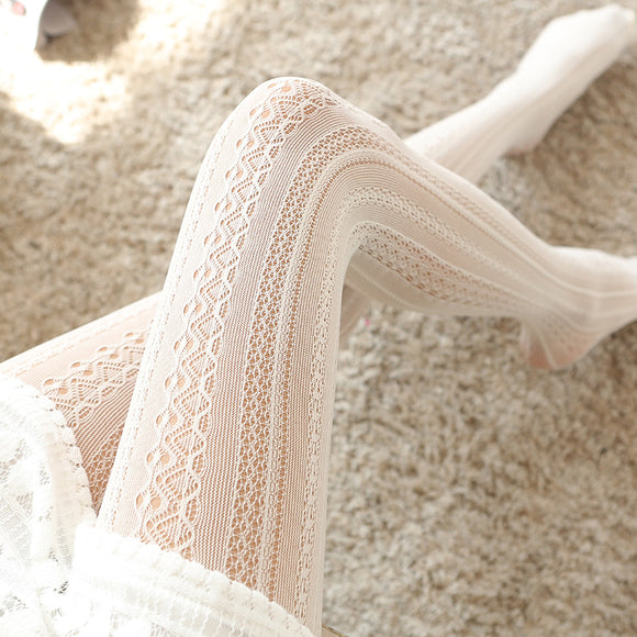 Lolita Sexy Wave Lace Flower Breathable Hollow Mesh Women Thigh High Stockings Pantyhose - chicstocking