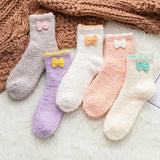 Candy Color Bow Fuzzy Fleece-lined Warm Short Socks - chicstocking